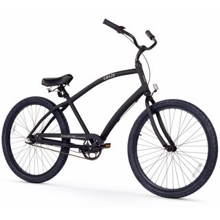 "26"" Firmstrong Men's CA-520 Alloy Three Speed Beach Cruiser Bicycle, Matte Black"