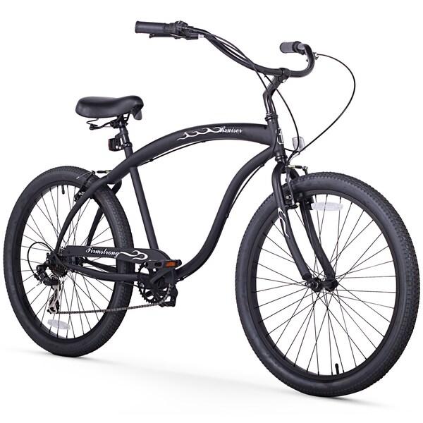 """26"""" Firmstrong Bruiser Man Seven Speed Beach Cruiser Men's Bicycle, Matte Black"""