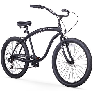 "26"" Firmstrong Bruiser Man Seven Speed Beach Cruiser Men's Bicycle, Matte Black"