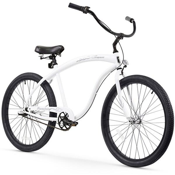 "26"" Firmstrong Bruiser Man Three Speed Beach Cruiser Men's Bicycle, White"
