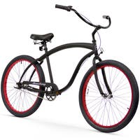 "26"" Firmstrong Bruiser Man Three Speed Beach Cruiser Men's Bicycle, Matte Black w/ Red Rims"