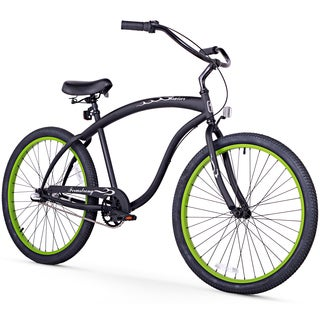 "26"" Firmstrong Bruiser Man Three Speed Beach Cruiser Men's Bicycle, Matte Black w/ Green Rims"