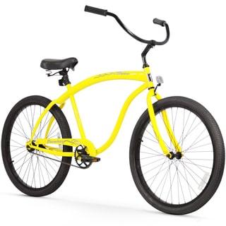 "26"" Firmstrong Bruiser Man Single Speed Beach Cruiser Men's Bicycle, Yellow"