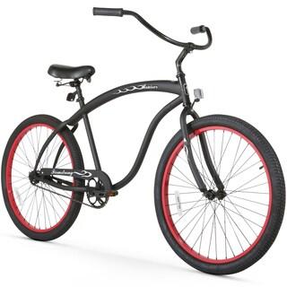 "26"" Firmstrong Bruiser Man Single Speed Beach Cruiser Men's Bicycle, Matte Black w/ Red Rims"