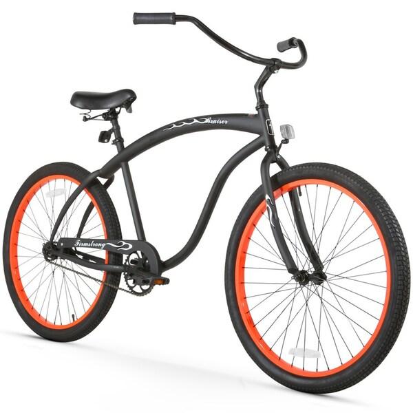 """26"""" Firmstrong Bruiser Man Single Speed Beach Cruiser Men's Bicycle, Matte Black with Orange Rims"""