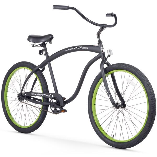 "26"" Firmstrong Bruiser Man Single Speed Beach Cruiser Men's Bicycle, Matte Black w/ Green Rims"