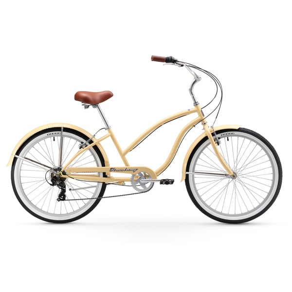"""26"""" Firmstrong Chief Lady Seven Speed Beach Cruiser Bicycle, Vanilla"""