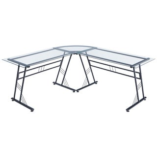 Poly and Bark Bridgeport Clear Glass and Black Steel L-shaped Desk