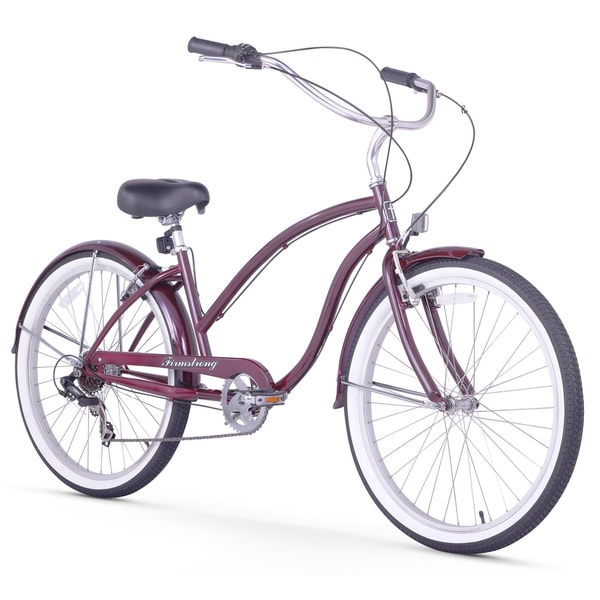 """26"""" Firmstrong Chief Lady Seven Speed Beach Cruiser Bicycle, Purple"""