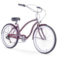 "26"" Firmstrong Chief Lady Seven Speed Beach Cruiser Bicycle, Purple"