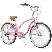 "26"" Firmstrong Chief Lady Seven Speed Beach Cruiser Bicycle, Pink"
