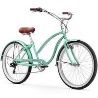 """26"""" Firmstrong Chief Lady Seven Speed Beach Cruiser Bicycle, Mint Green"""