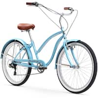 "26"" Firmstrong Chief Lady Seven Speed Beach Cruiser Bicycle, Baby Blue"