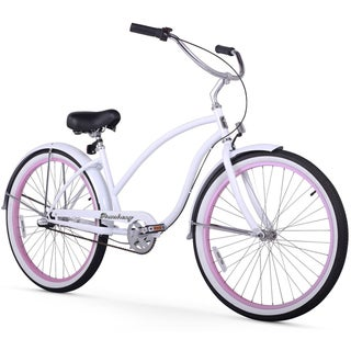 "26"" Firmstrong Chief Lady Three Speed Beach Cruiser Bicycle, White w/ Pink Rims"