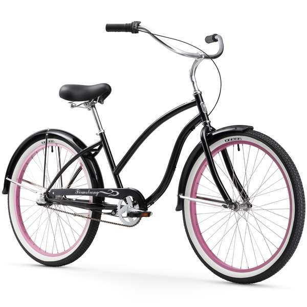 """26"""" Firmstrong Chief Lady Three Speed Beach Cruiser Bicycle, Black w/ Pink Rims"""