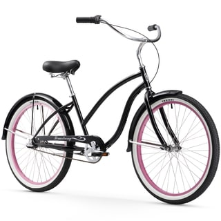 "26"" Firmstrong Chief Lady Three Speed Beach Cruiser Bicycle, Black w/ Pink Rims"