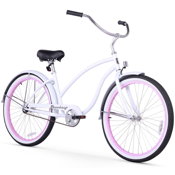 """26"""" Firmstrong Chief Lady Single Speed Beach Cruiser Bicycle, White w/ Pink Rims"""