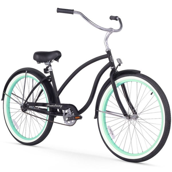 """26"""" Firmstrong Chief Lady Single Speed Beach Cruiser Bicycle, Matte Black w/ Green Rims"""