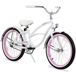 "20"" Firmstrong Urban Girl Single Speed Beach Cruiser Girls' Bicycle, White"