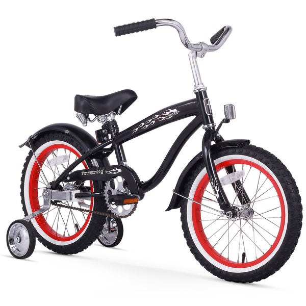 """16"""" Firmstrong Bruiser Single Speed Boys' Bicycle with Training Wheels, Black"""