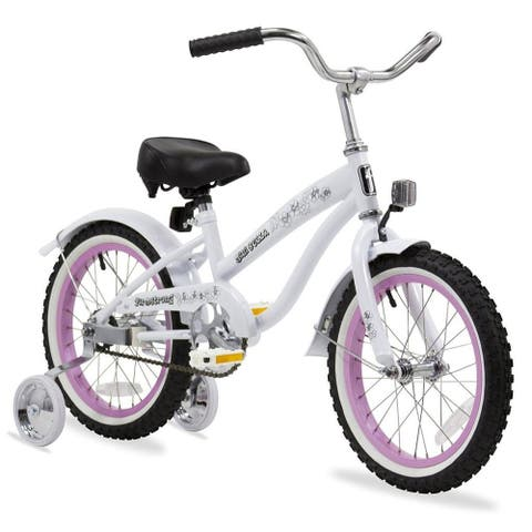 """16"""" Firmstrong Mini Bella Single Speed Girls Bicycle with Training Wheels, White"""