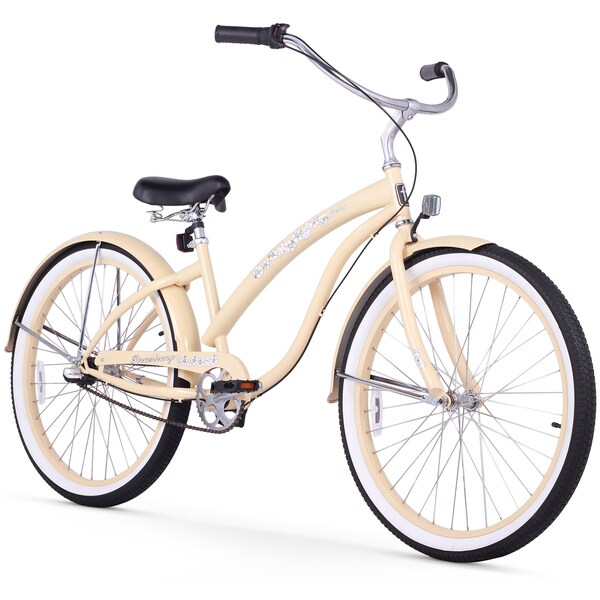 "26"" Firmstrong Bella Classic Three Speed Women's Beach Cruiser Bicycle, Vanilla"