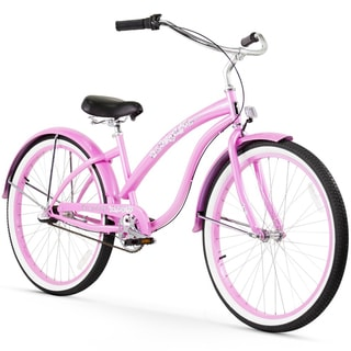 "26"" Firmstrong Bella Classic Three Speed Women's Beach Cruiser Bicycle, Pink"