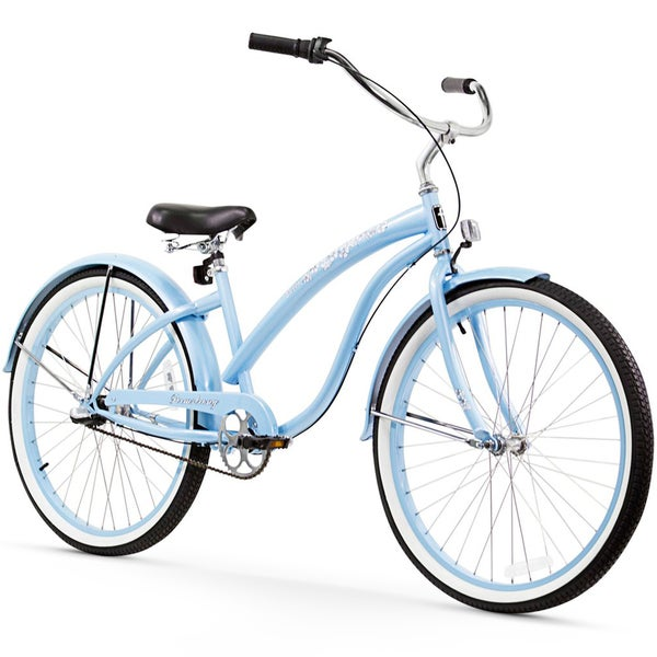 "26"" Firmstrong Bella Classic Three Speed Women's Beach Cruiser Bicycle, Baby Blue"