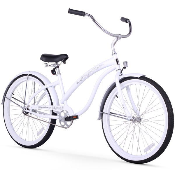 "26"" Firmstrong Bella Classic Single Speed Women's Beach Cruiser Bicycle, White"