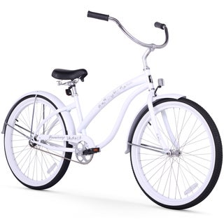 """26"""" Firmstrong Bella Classic Single Speed Women's Beach Cruiser Bicycle, White"""
