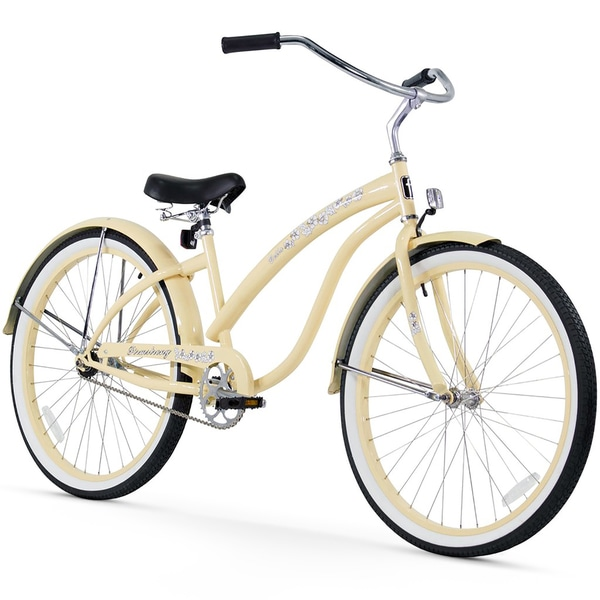 "26"" Firmstrong Bella Classic Single Speed Women's Beach Cruiser Bicycle, Vanilla"