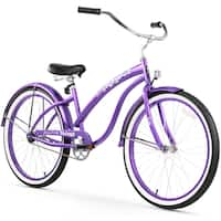 "26"" Firmstrong Bella Classic Single Speed Women's Beach Cruiser Bicycle, Purple"