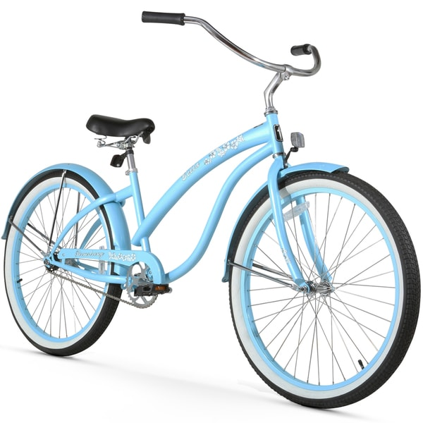 """26"""" Firmstrong Bella Classic Single Speed Women's Beach Cruiser Bicycle, Baby Blue"""