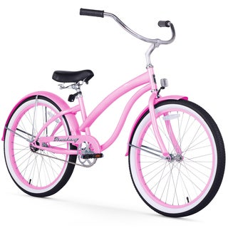 """24"""" Firmstrong Bella Classic Single Speed Women's Beach Cruiser Bicycle, Pink"""