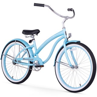 """24"""" Firmstrong Bella Classic Single Speed Women's Beach Cruiser Bicycle, Baby Blue"""