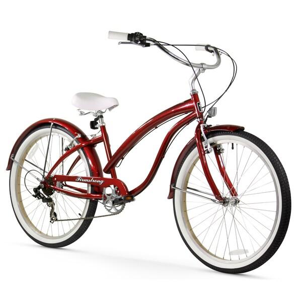 "26"" Firmstrong Bella Fashionista Seven Speed Women's Beach Cruiser Bicycle, Burgundy"