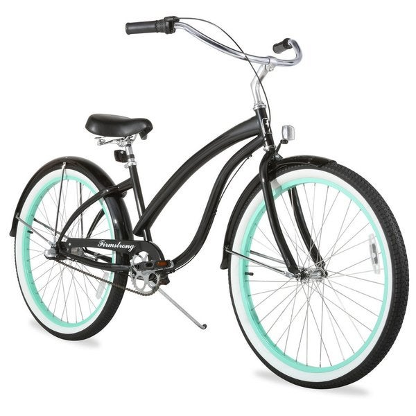 "26"" Firmstrong Bella Fashionista Three Speed Women's Beach Cruiser Bicycle, Gloss Black with Green Rims"