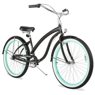 """26"""" Firmstrong Bella Fashionista Three Speed Women's Beach Cruiser Bicycle, Gloss Black with Green Rims"""