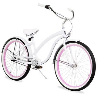 "26"" Firmstrong Bella Fashionista Three Speed Women's Beach Cruiser Bicycle, White with Pink Rims"