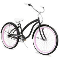 "26"" Firmstrong Bella Fashionista Three Speed Women's Beach Cruiser Bicycle, Matte Black with Pink Rims"
