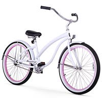 "26"" Firmstrong Bella Fashionista Single Speed Women's Beach Cruiser Bicycle, White with Pink Rims"