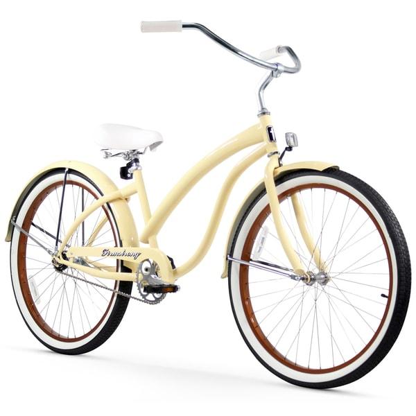 "26"" Firmstrong Bella Fashionista Single Speed Women's Beach Cruiser Bicycle, Vanilla"
