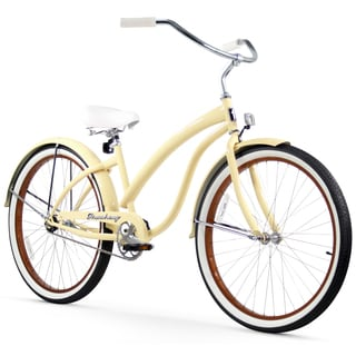 "26"" Firmstrong Bella Fashionista Single Speed Women's Beach Cruiser Bicycle, Vanilla"