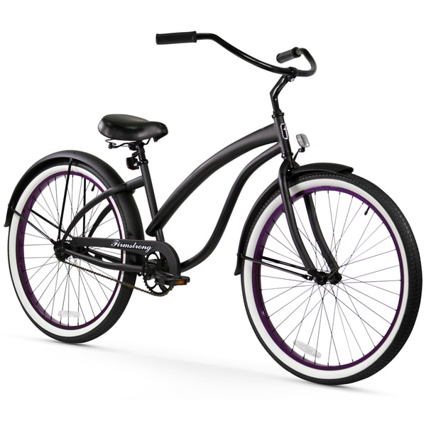 "26"" Firmstrong Bella Fashionista Single Speed Women's Beach Cruiser Bicycle, Matte Black with Purple Rims"