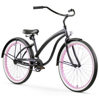 "26"" Firmstrong Bella Fashionista Single Speed Women's Beach Cruiser Bicycle, Matte Black with Pink Rims"