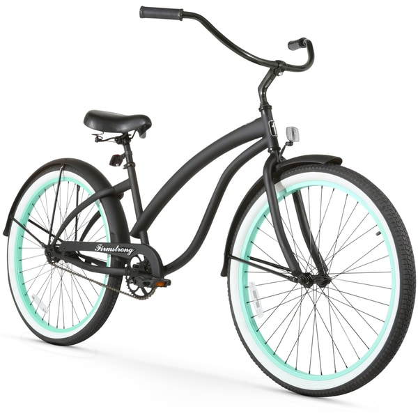 """26"""" Firmstrong Bella Fashionista Single Speed Women's Beach Cruiser Bicycle, Matte Black with Green Rims"""