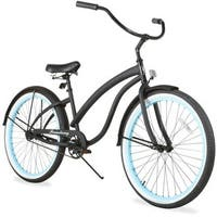 "26"" Firmstrong Bella Fashionista Single Speed Women's Beach Cruiser Bicycle, Matte Black with Blue Rims"