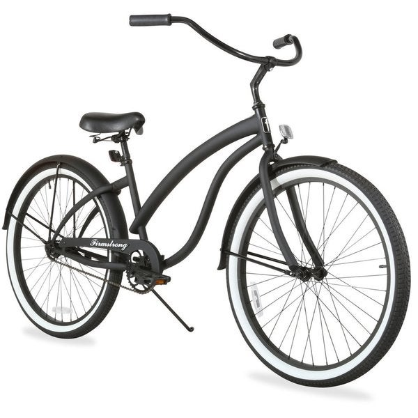 """26"""" Firmstrong Bella Fashionista Single Speed Women's Beach Cruiser Bicycle, Matte Black with Black Rims"""