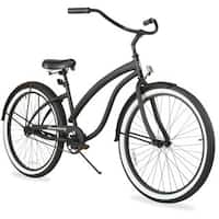 "26"" Firmstrong Bella Fashionista Single Speed Women's Beach Cruiser Bicycle, Matte Black with Black Rims"