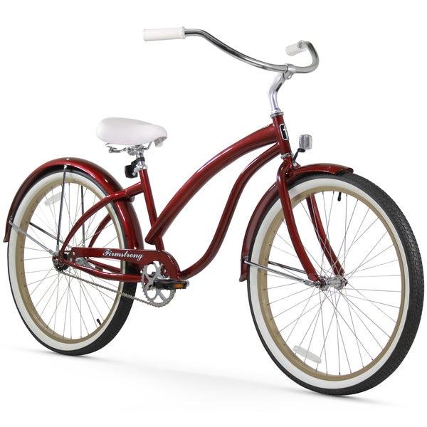 "26"" Firmstrong Bella Fashionista Single Speed Women's Beach Cruiser Bicycle, Burgundy"